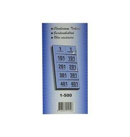 Merkloos Garderobeblokken nummers van 1 t.e.m. 500, geel
