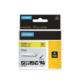 Dymo Dymo RHINO vinyltape 12 mm, zwart op geel