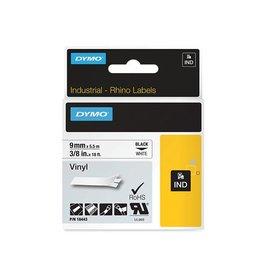 Dymo Lettertape Dymo 9mmx5,5m vinyl zwart/wit [5st]