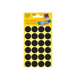 Avery Avery Ronde etiketten diameter 18 mm, zwart, 96 stuks