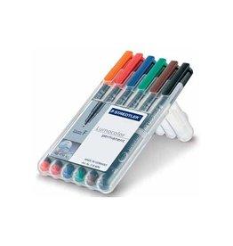 Staedtler Staedtler OHP-marker Lumocolor Permanent  box 6st fijn 0,6mm