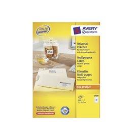 Avery Avery Zweckform 3489, wit, 100 vellen, 30 pervel, 70x29,7mm