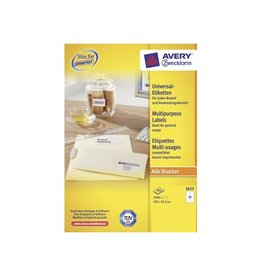 Avery Zweckform Avery Zweckform 3653, wit, 100 vellen, 14 pervel, 105x42,3mm