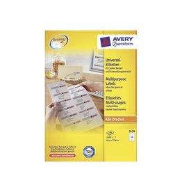 Avery Avery Zweckform 3658 wit 100 vellen 24 pervel 64,6x33,8mm