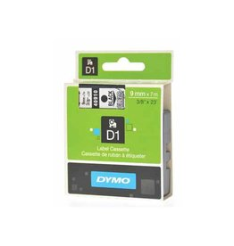Dymo Dymo D1 tape 9 mm, zwart op transparant