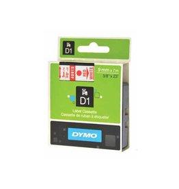 Dymo Dymo D1 tape 9 mm, rood op wit