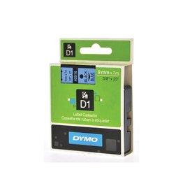 Dymo Dymo D1 tape 9 mm, zwart op blauw