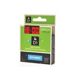 Dymo Dymo D1 tape 9 mm, zwart op rood