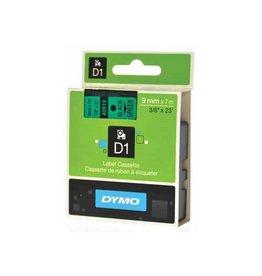 Dymo Dymo D1 tape 9 mm, zwart op groen