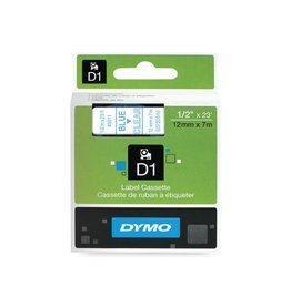 Dymo Dymo D1 tape 12 mm, blauw op transparant