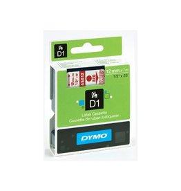 Dymo Dymo D1 tape 12 mm, rood op transparant
