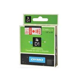Dymo Dymo D1 tape 12 mm, rood op wit