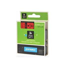 Dymo Dymo D1 tape 12 mm, zwart op rood