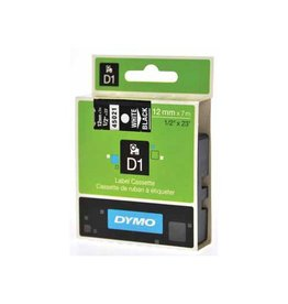 Dymo Dymo D1 tape 12 mm, wit op zwart