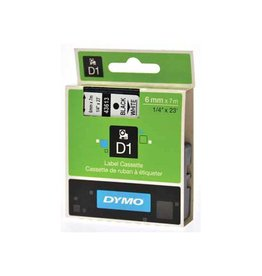 Dymo Dymo D1 tape 19 mm, zwart op wit