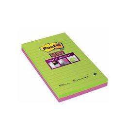 Post-it Post-it Super Sticky notes 125x200mm assorti 45vel 2 blokken
