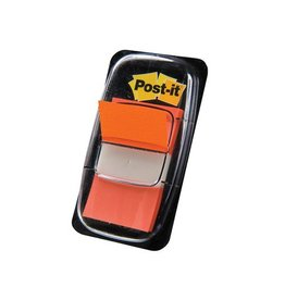 Post-it Post-it Index standaard, 25,4x43,2mm, oranje, houder 50 tabs