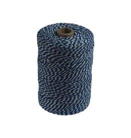 Merkloos Katoentouw, blauw-wit, klos van 200 g, ongeveer 200 m