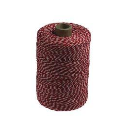 Merkloos Katoentouw, rood-wit, klos van 200 g, ongeveer 200 m