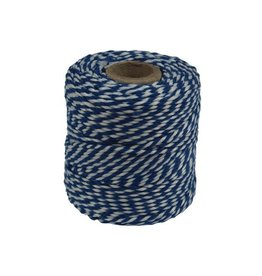 Merkloos Katoentouw, blauw-wit, klos van 50 g, ongeveer 45 m