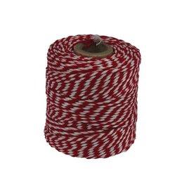 Merkloos Katoentouw, rood-wit, klos van 50 g, ongeveer 45 m