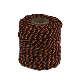 Merkloos Katoentouw, zwart-rood-geel, klos van 50 g, ongeveer 35 m