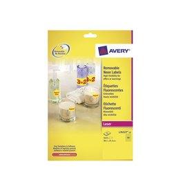 Avery Avery Afneembare neon etik. 38,1x21,2 mm 25 bl, 1625st, geel