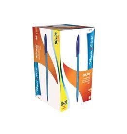 Papermate Paper Mate balpen InkJoy 100 met dop,blauw,doos 80+20 gratis