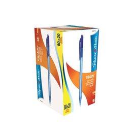 Papermate Paper Mate balpen InkJoy 100 RT, blauw, doos 80 + 20 gratis
