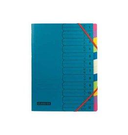 Classex Class'ex sorteermap A-Z en 1-12 blauw met 12 tabs in assorti