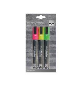 Sigel Sigel krijtstift 50,blister van 3st in geassorteerde kleuren