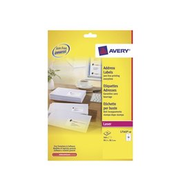 Avery Avery L7163 Adresetik. Laser wit 40vel. 14 /vel 99,1x38,1mm