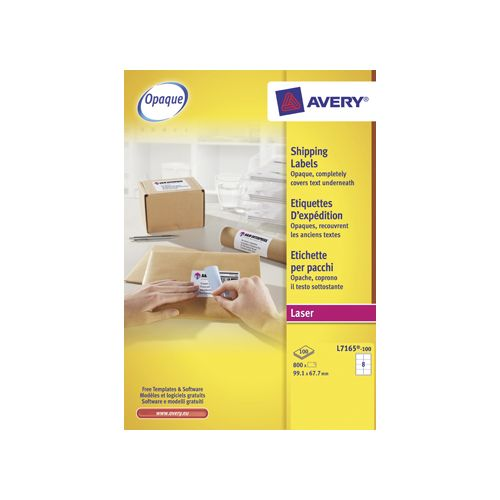 Avery Avery L7165 Verzendetik Laser wit 100vel 8 /vel 99,1x67,7mm