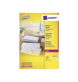 Avery Avery L7173 Verzendetik. Laser wit 100vel. 10 /vel 99,1x57mm
