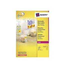 Avery Zweckform Avery Afneembare neon etik. 99,1x38,1mm 100bl 1400st n.geel