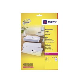 Avery Avery L7651-25 mini adresetik. 38,1x21,2mm 1.625 etik. wit