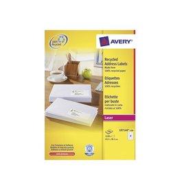 Avery Avery gerecycleerde witte laseretik 63,5x38,1mm 2100st 21/bl