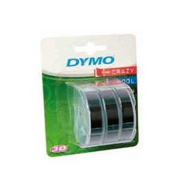 Dymo Dymo D3 tape 9 mm, wit op zwart, blister van 3 stuks