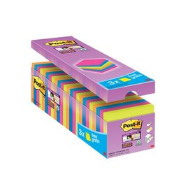 Post-it Post-it Super Sticky Notes, 76x76mm, assorti, 21 + 3 gratis