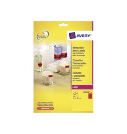 Avery Avery Afneembare neon etik. 99,1x38,1mm 25bl 350st neonrood