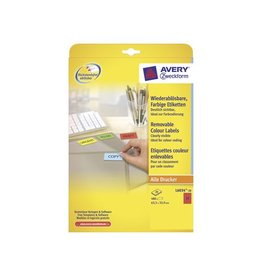 Avery Zweckform Avery afneembare gekleurde etik. 63,5x33,9mm 480st 24/bl rd.