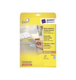Avery Zweckform Avery afneembare gekleurde etik. 63,5x33,9mm 480st 24/bl bl.