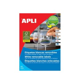 Apli Apli afneembare witte etik. 210x297mm 100st 1/blad (3060)