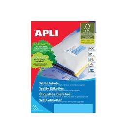 Apli Apli Witte etiketten 99,1x93,1mm(bxh),600st,6 per blad(2421)
