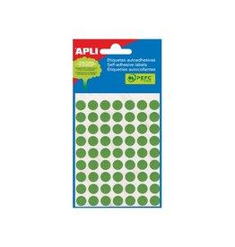 Apli Apli ronde etiketten in etui 8mm groen 288st 96/blad (2047)