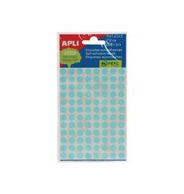 Apli Apli ronde etiketten in etui 8mm blauw 288st 96/blad (2045)