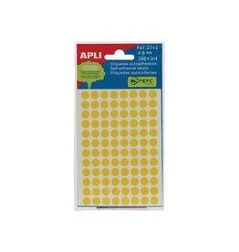 Apli Apli ronde etiketten in etui 8mm geel 288st 96/blad (2044)