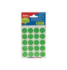Apli Apli ronde etiketten in etui 19mm groen 100st 20/blad (2066)