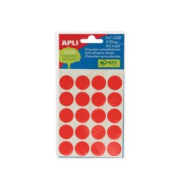 Apli Apli ronde etiketten in etui 19mm rood 100st 20/blad (2065)