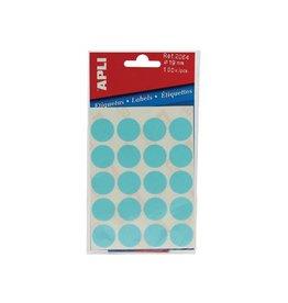 Apli Apli ronde etiketten in etui 19mm blauw 100st 20/blad (2064)